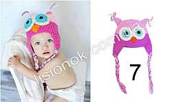 Вязаная шапка сова розово-малиновая XS 36-42 см