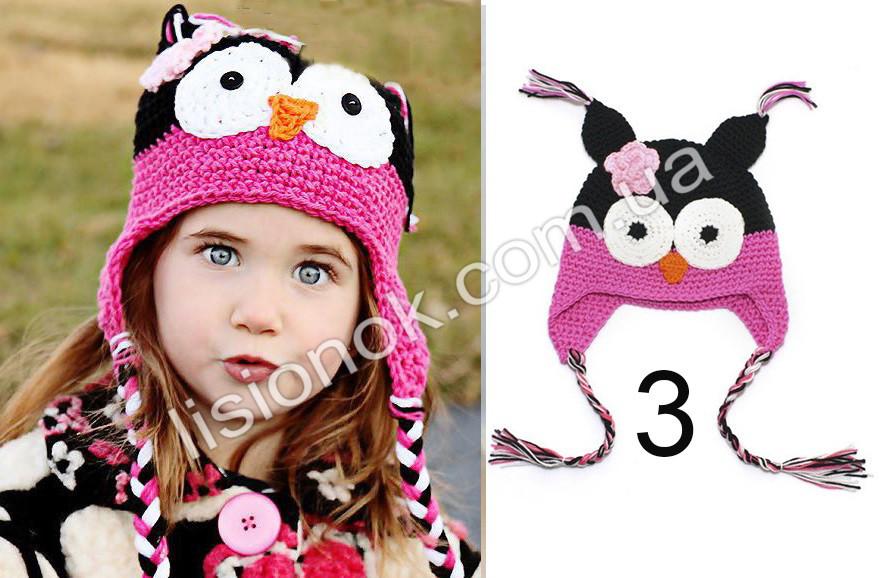 """Вязаная шапка сова черно-малиновая М (45-47 см) - """"Лисёнок"""" товары для детей в Одессе"""