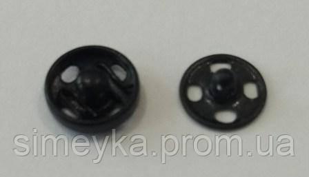 Кнопки металлические пришивные чёрные, диаметр 8 мм, упаковка 36 шт.