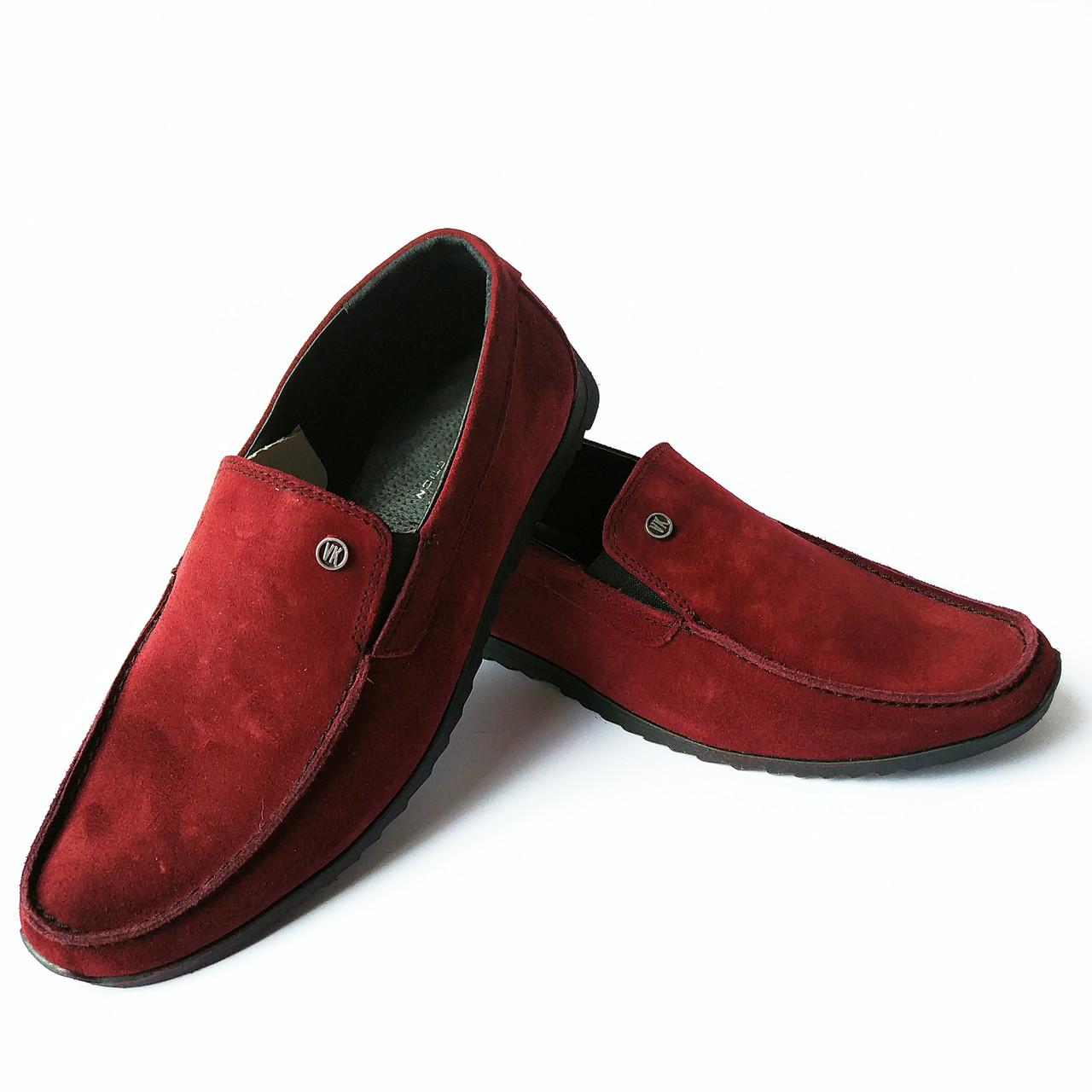 Мужская харьковская кожаная обувь   замшевые мокасины, бордового цвета,  фабрики Van Kristi 95c0ed914ed