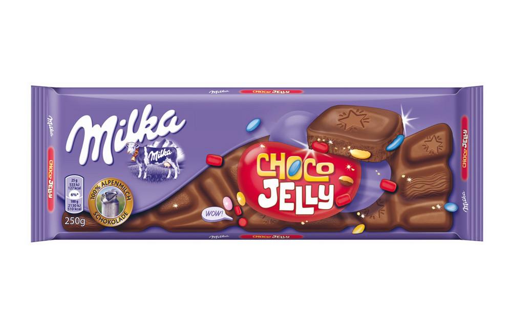 Шоколад Milka Choco Jelly (c драже, шипучками и мармеладками) Швейцария 250г