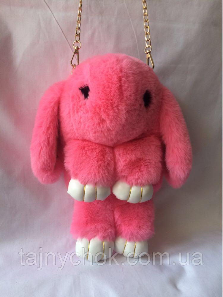 Розовый меховой рюкзачок 34/17 см