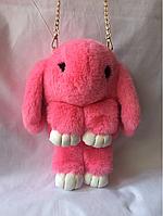Розовый меховой рюкзачок 34/17 см, фото 1