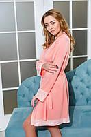 Трикотажный халат с кружевом Персик , фото 1