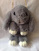 Меховой серый рюкзачок заяц 34/17 см, фото 1