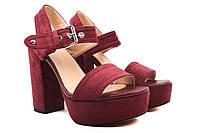 Босоножки женские Sp.Lion эко-замш, цвет бордо (каблук, стильные)
