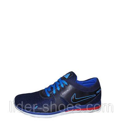 Мужские кроссовки Nike сетка темно-синего цвета