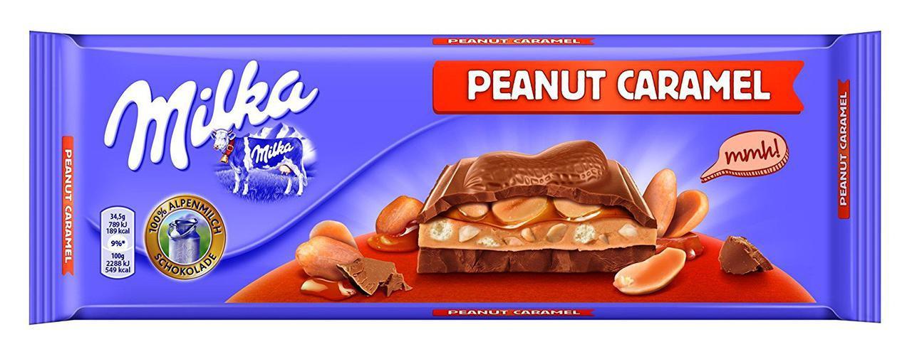 Шоколад Milka Peanut Caramel (c карамелью и арахисом) Швейцария 300г