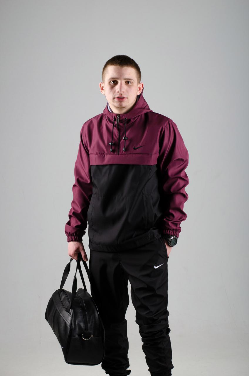 Анорак Nike, мужской черно-бордовый весенний, фото 1
