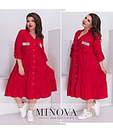 c61f50fb500 Свободное платье А-силуэта на пуговицах большой размер Прямой поставщик  Производителя ТМ Минова р.48-60