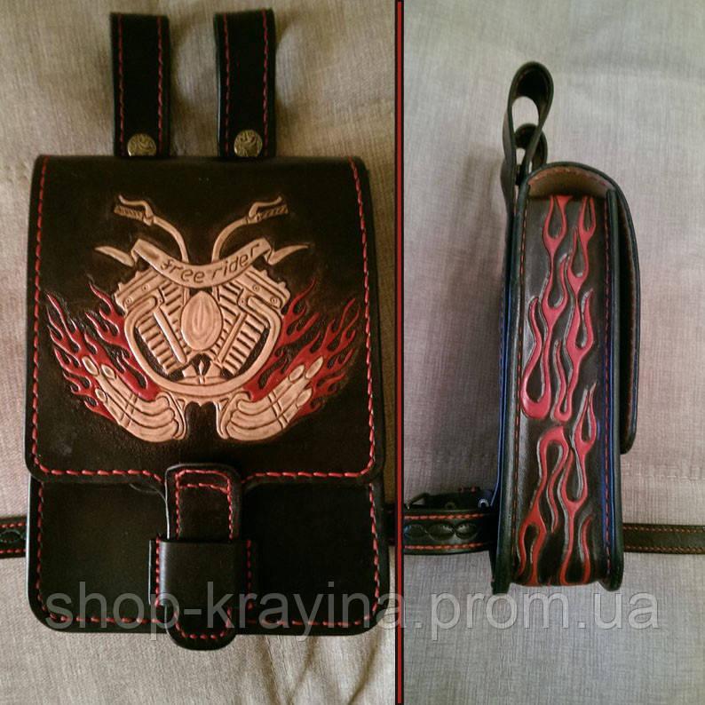 Кожаная сумка байкера Hand Made 512