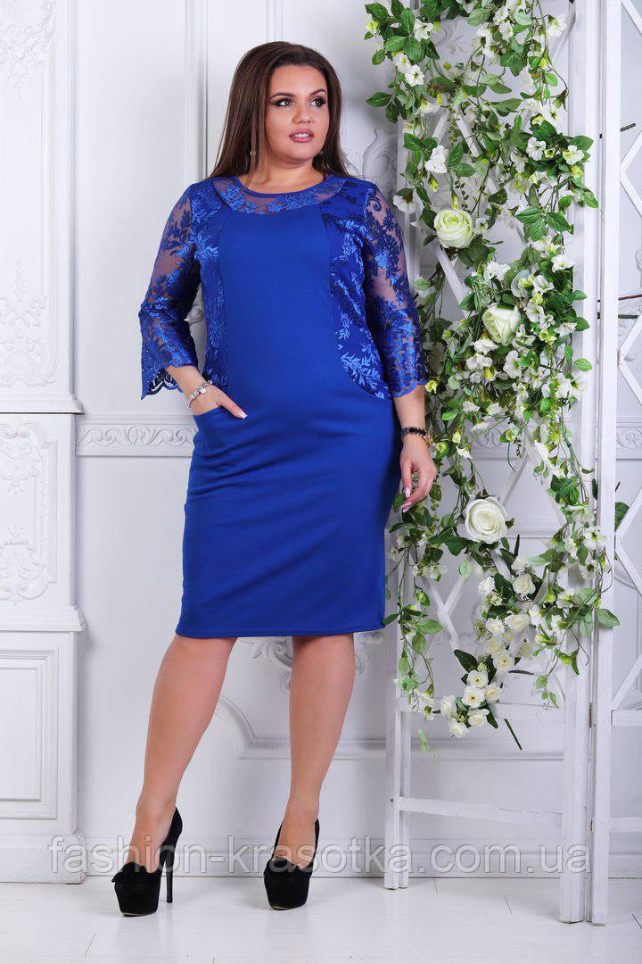 Шикарное женское платье из креп дайвинга+кружевной гипюр в размерах 50-56