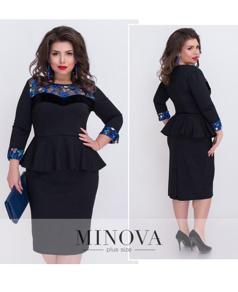 28cddf56920 Элегантное платье-футляр с баской Прямой поставщик Производителя ТМ Минова  р.50-56