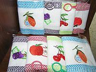 Набор вафельных полотенец кухонных с вышивкой  4 шт. 39х65 см