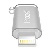 Biaze переходник-адаптер microUSB к Lightning для передачи данных и зарядки iPhone/iPad/iPod (Серебристый), фото 3