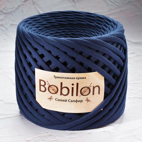 Ленточная пряжа Bobilon Mini (5-7мм). Синий Сапфир