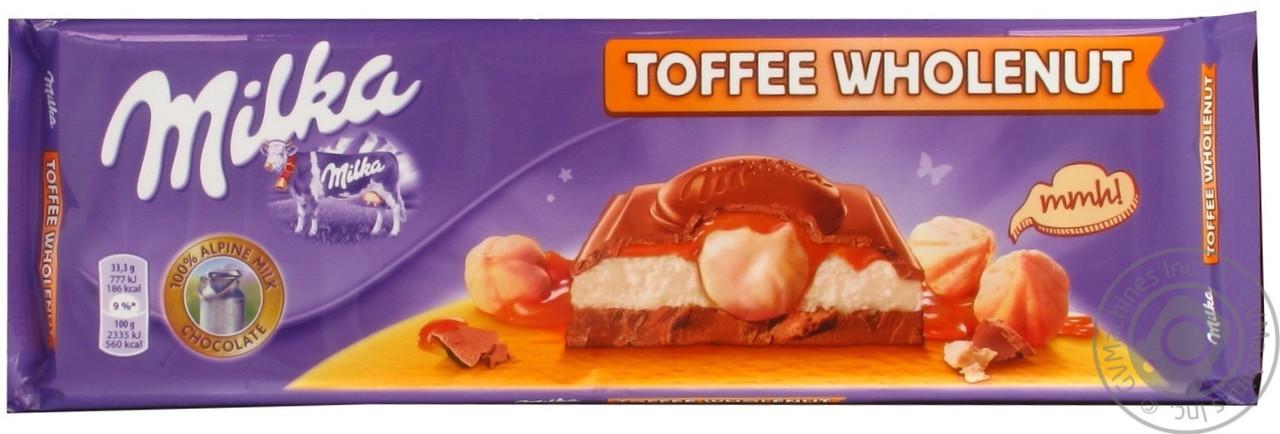 Шоколад Milka Toffee Wholenut (с карамелью и цельным орехом фундуком) 300 г Швейцария