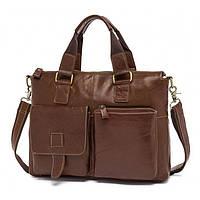 Кожаная деловая сумка портфель  коричневая, фото 1