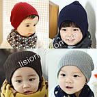 Теплые детские шапки в рубчик