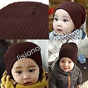 Коричневая теплая двойная шапка в рубчик 40-53см