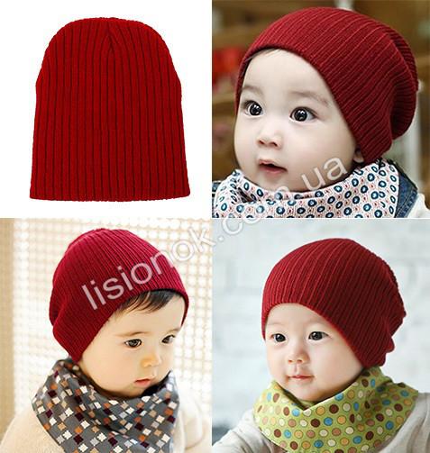 Темно-красная теплая двойная шапка в рубчик 40-53см