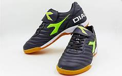 Обувь для зала мужская DIA  (р-р 40-45) (верх-PU, подошва-PU, черный,лого-салатовый)