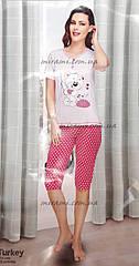Женские хлопковые пижамы с бриджами на манжете