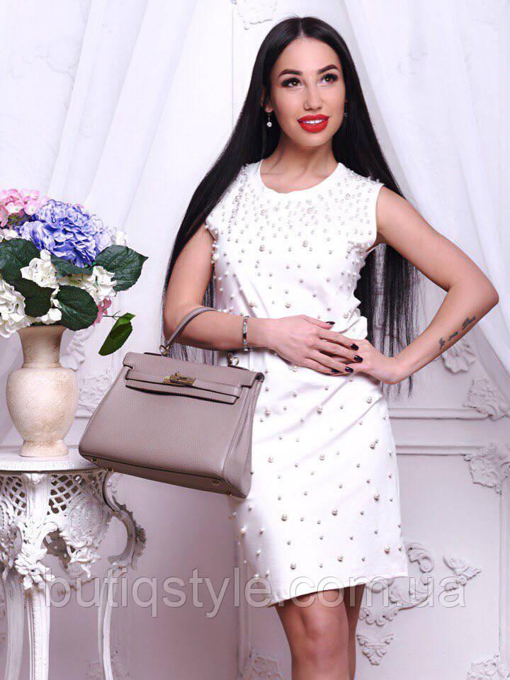 Короткое женское свободное платье с жемчугом черное, белое, розовое