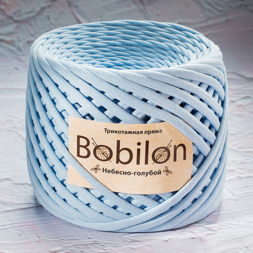Трикотажная пряжа Бобилон Micro (3-5мм). Небесно-голубой