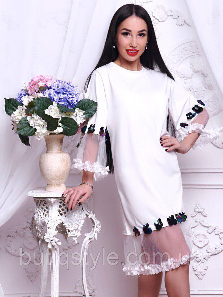 Красивое женское платье органза со стразами только белое тренд 2018 года