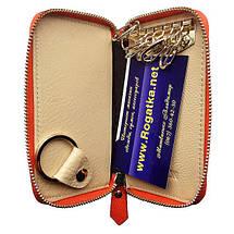 Кошелек ключница женская Bretton из натуральной кожи. Чехол для ключей. Оранжевый, синий и черный цвет., фото 3