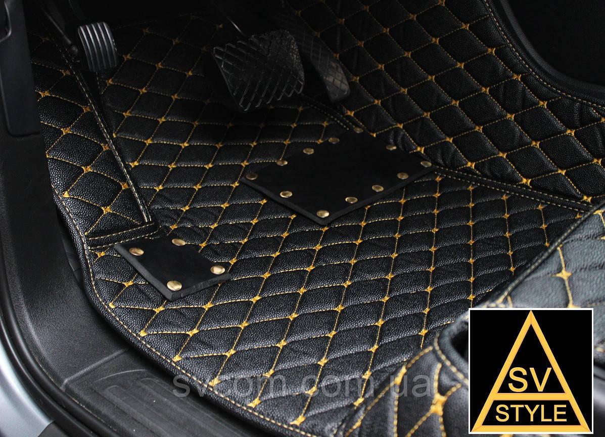 Коврики из Экокожи Audi Q7 (2005-2015) с Жёлтой нитью