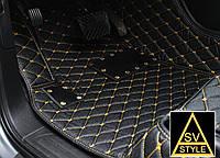 Коврики в салон Audi Q7 Кожаные 3D (2005-2015) с Жёлтой нитью, фото 1