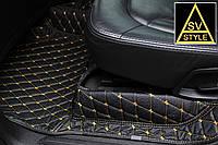 Коврики на Audi Q7 Кожаные 3D (кузов №1 / 2005-2015) Чёрные с Жёлтой нитью