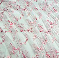Тюль органза Ветки цветов розовый