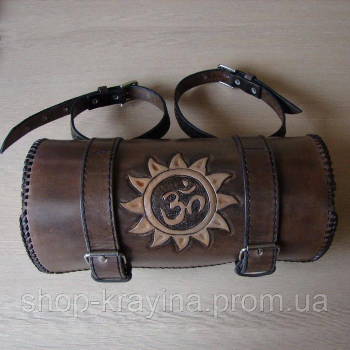 Шкіряна сумка батон на велосипед/мотоцикл Hand Made 515