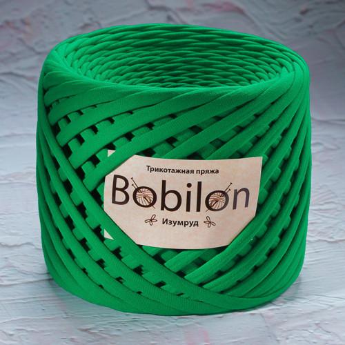 Трикотажная пряжа Bobilon Mini (5-7мм). Цвет Изумруд