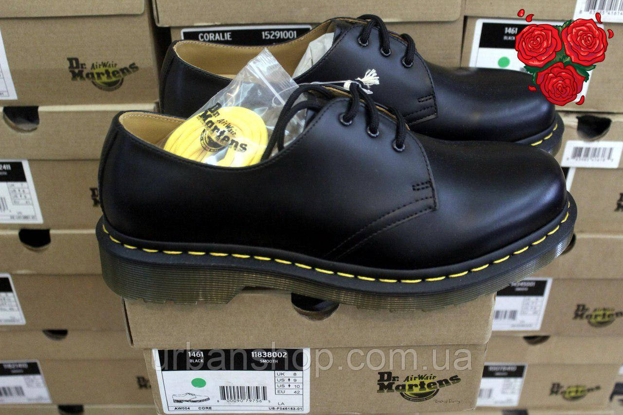 Туфлі Dr.Martens 1461 Black (DM10085001 11837002) чорні мартенси, мартенс, мартіна, ORIGINAL.