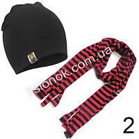 Набор детский черная шапка Bape + черно-коралловый шарф