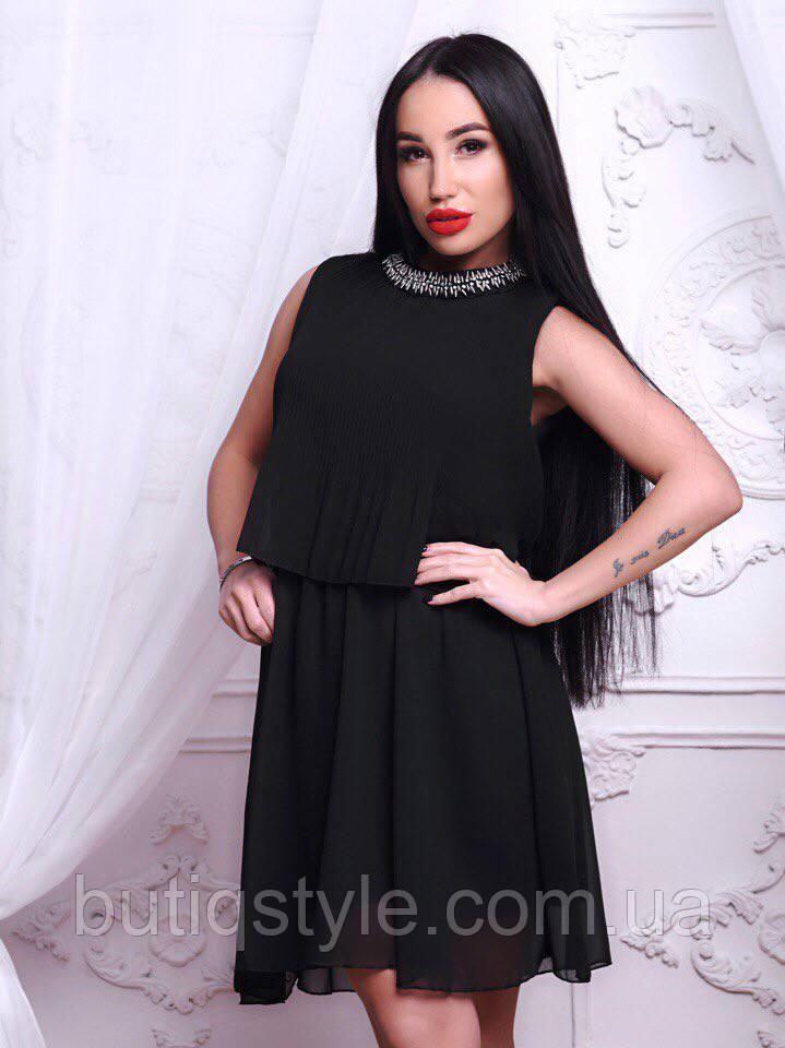 66bccc95762 Красивое женское шифоновое платье со стразами розовое
