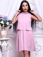 Красивое женское шифоновое платье со стразами розовое, белое, черное