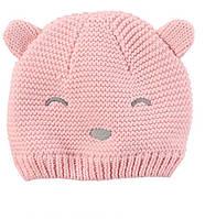 Детская розовая демисезонная вязанная шапка Мишка с ушками Картерс для девочки