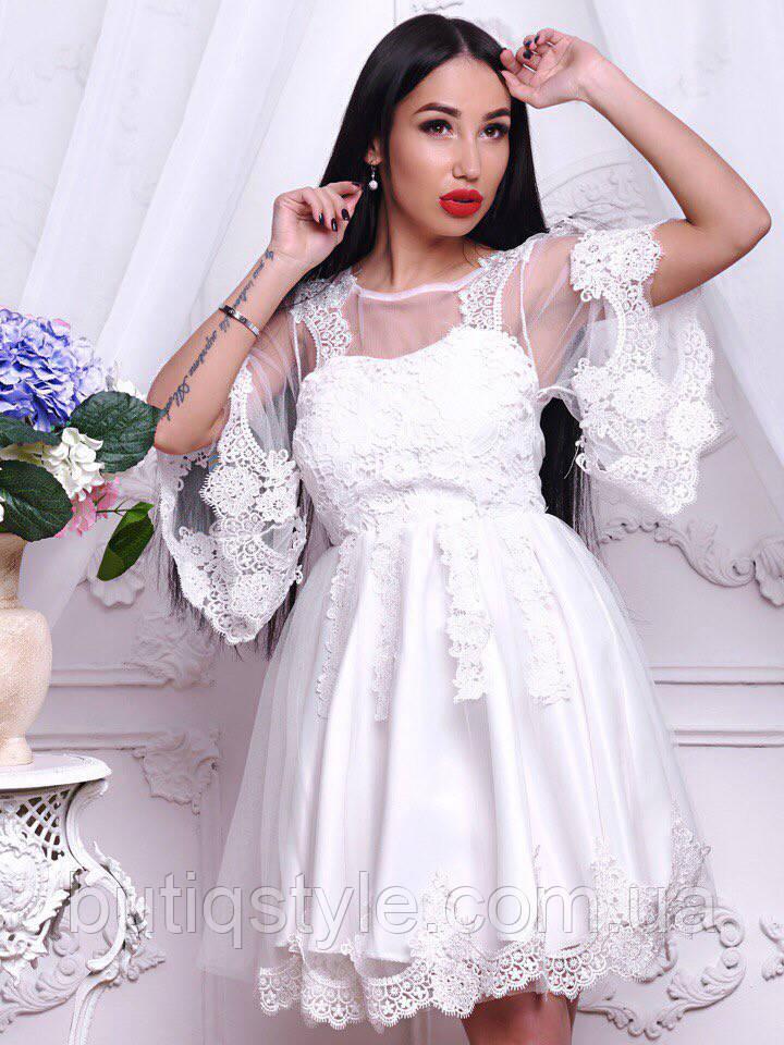 Шикарное шифоновое платье с дорогим кружевом класса люкс белое, розовое, черное