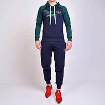 Мужской спортивный костюм Reebok (Рибок) с капюшоном, брюки на манжете - темно-синий / зеленый, фото 3