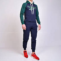 Мужской спортивный костюм Reebok (Рибок) с капюшоном, брюки на манжете - темно-синий / зеленый, фото 2