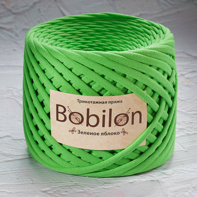 Ленточная пряжа  Bobilon Medium (7-9мм). Зеленое яблоко