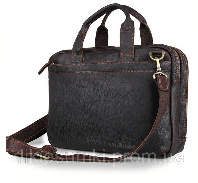 d8bf343581c5 Стильная мужская кожаная сумка в темно коричневом цвете TIDING BAG 7092Q