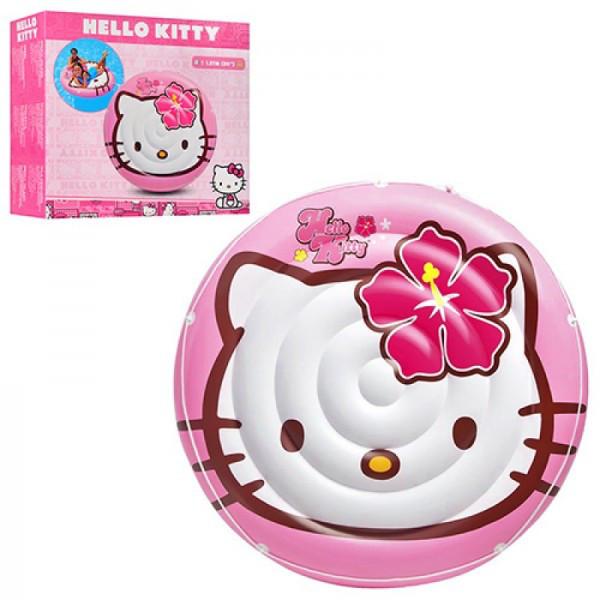 Детский надувной плотик для плавания Hello Kitty круглый 137 см Intex