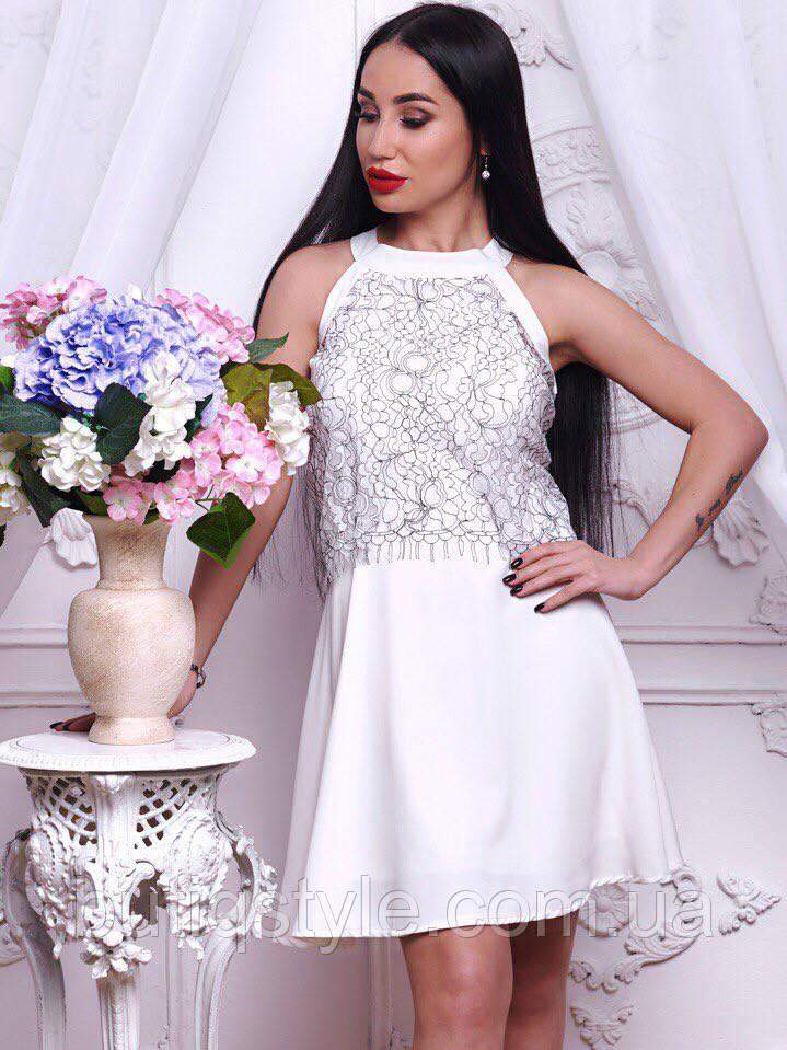 Красивое женское белое платье креп-шифон с кружевом