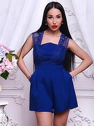 Стильный женский комбинезон шортами котон + гипюр синий, розовый, марсала